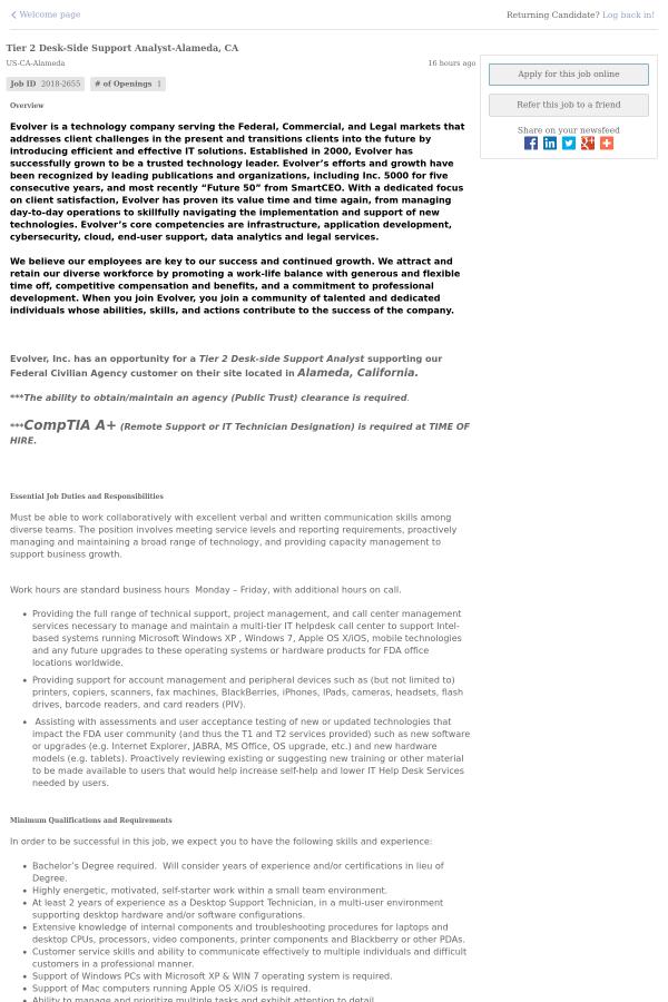 Tier 2 Desk - Side Support Analyst - Alameda, CA job at Evolver in ...
