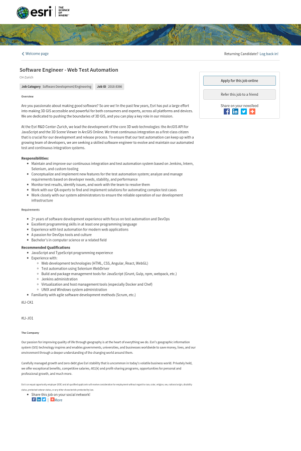 Software Engineer - Web Test Automation job at Esri in