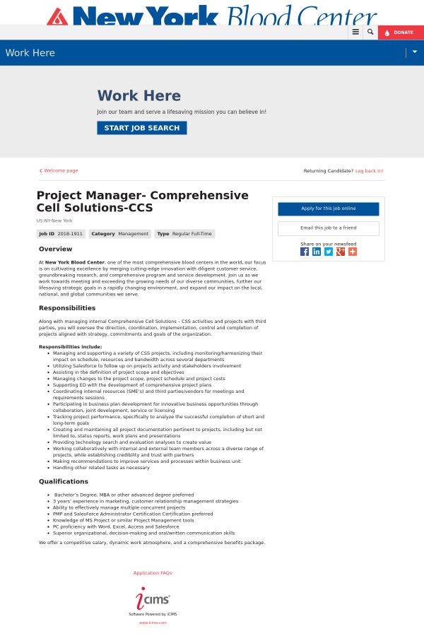 Project Manager Comprehensive Cell Solutions Ccs Job At New York
