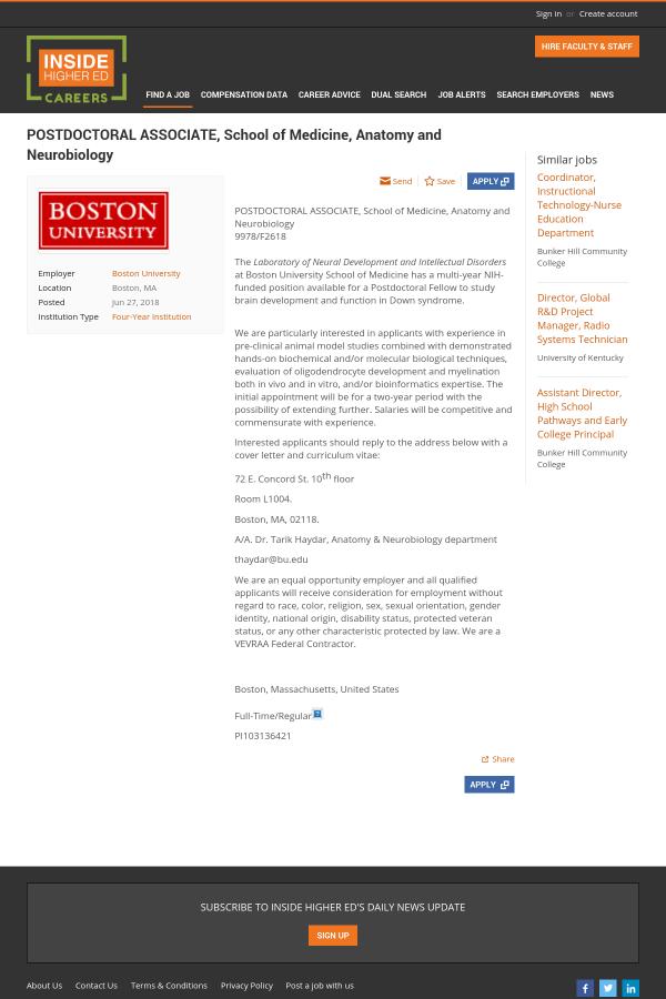 PostDoctoral Associate, School of Medicine, Anatomy and Neurobiology ...