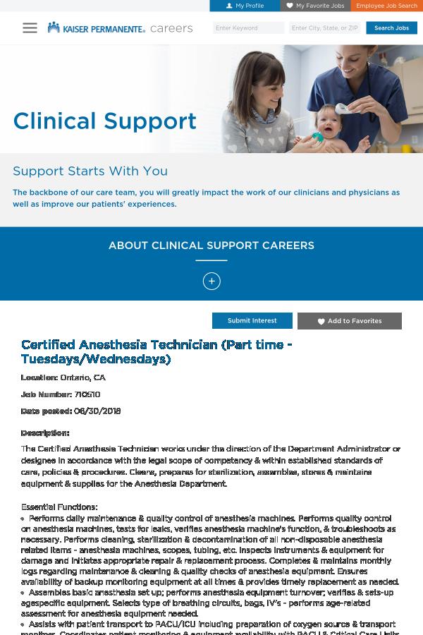 Certified Anesthesia Technician (- Tuesdays / Wednesdays) job at ...