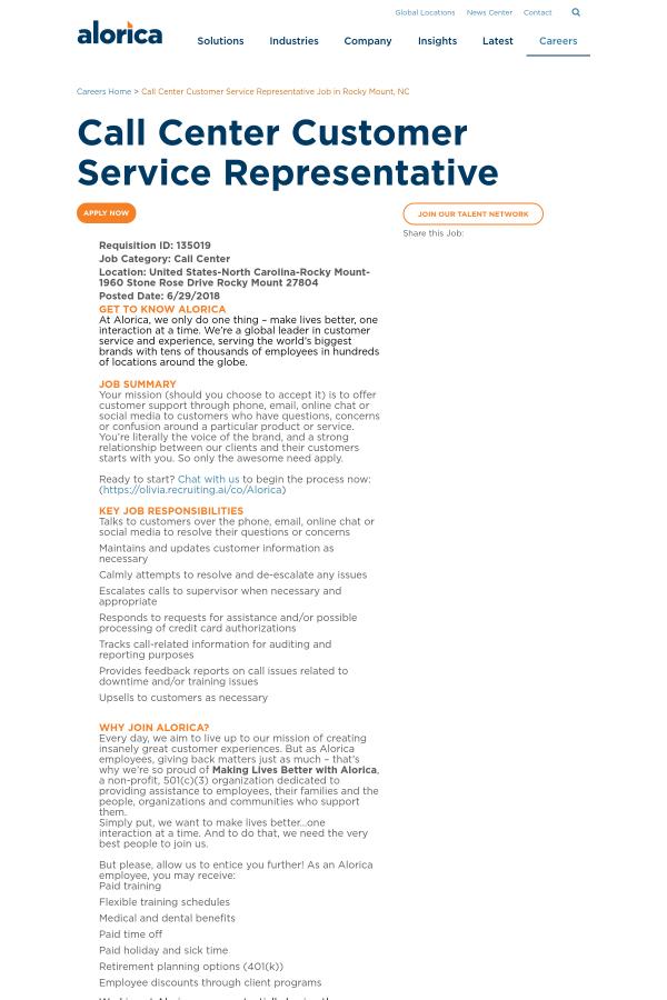 Call Center Customer Service Representative job at Alorica in Rocky ...