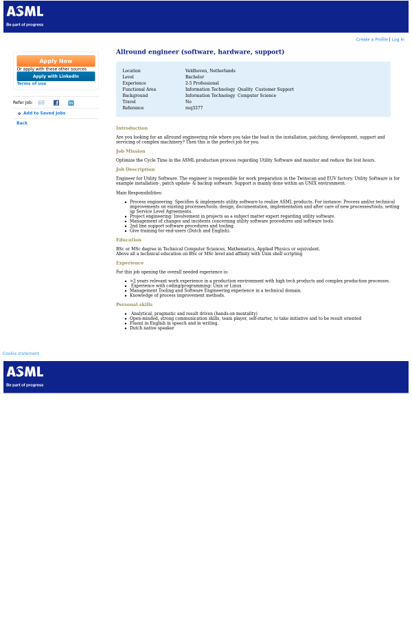 Allround Engineer (Software, Hardware, Support) job at ASML in