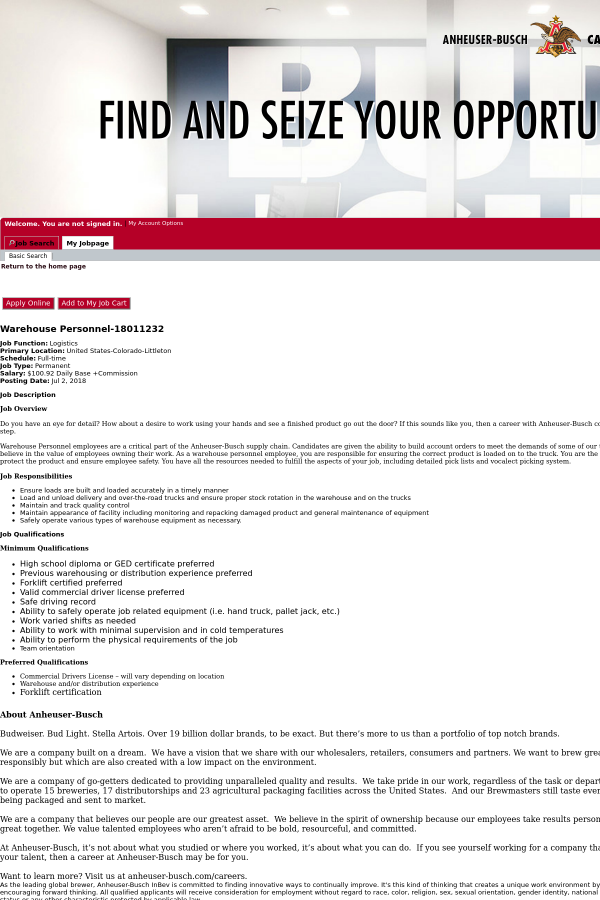 Warehouse Personnel Job At Anheuser Busch In Littleton CO