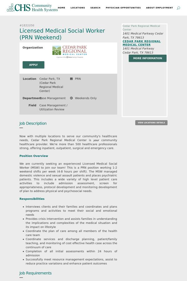 Licensed Medical Social Worker Prn Weekend Job At Community Health