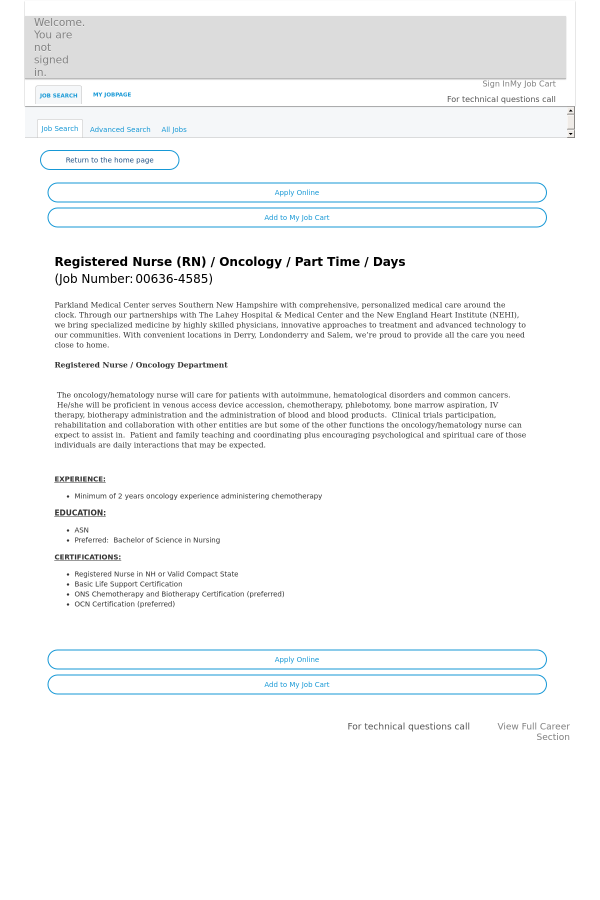 Registered Nurse / Oncology - Days job at HCA Holdings, Inc. in ...