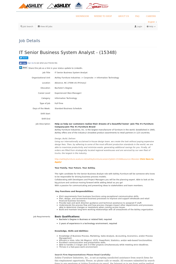 it senior business system analyst job at ashley furniture in advance
