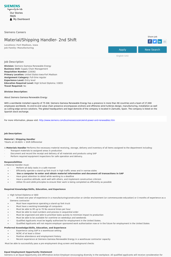 Material / Shipping Handler - 2nd Shift job at Siemens in Fort ...