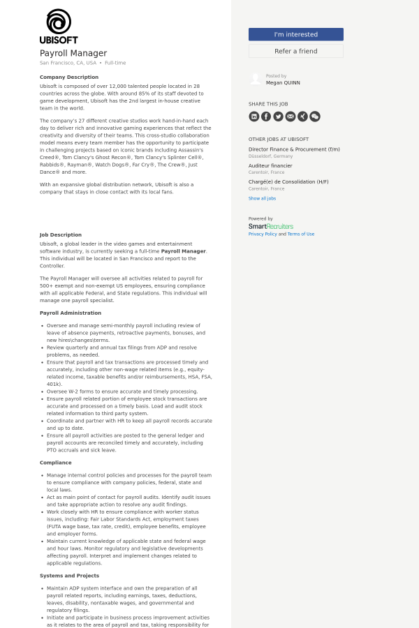 Payroll Manager job at Ubisoft in San Francisco, CA - 13270400 ...