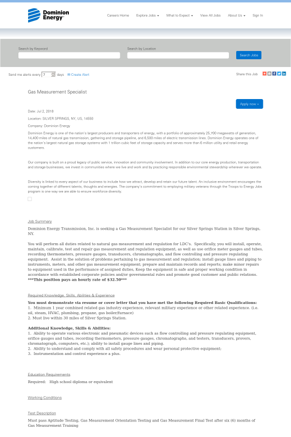 Gas Measurement Specialist job at Dominion Resources in Silver ...