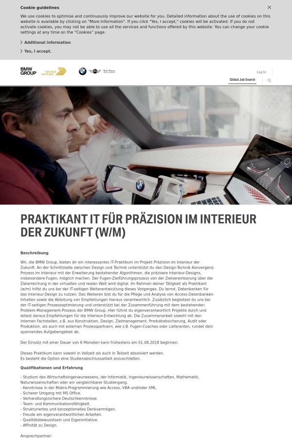 Praktikant IT Für Präzision IM Interieur Der Zukunft (w/m) job at ...