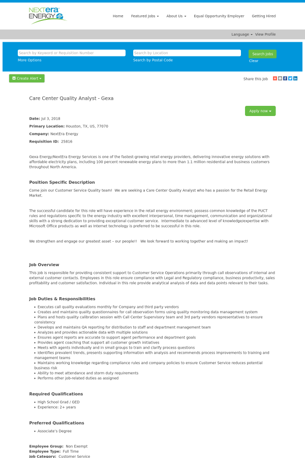 Care Center Quality Analyst - GEXA job at NextEra Energy in Houston ...