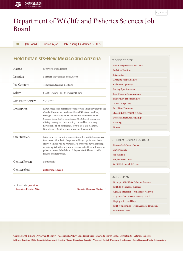 Field Botanists - New Mexico and Arizona job at Ecosystem Management ...