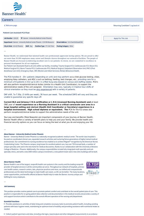 Patient Care Assistant Pca Float Job At Banner Health In Phoenix Az