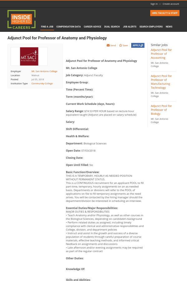 Adjunct Pool for Professor of Anatomy and Physiology job at Mt. San ...