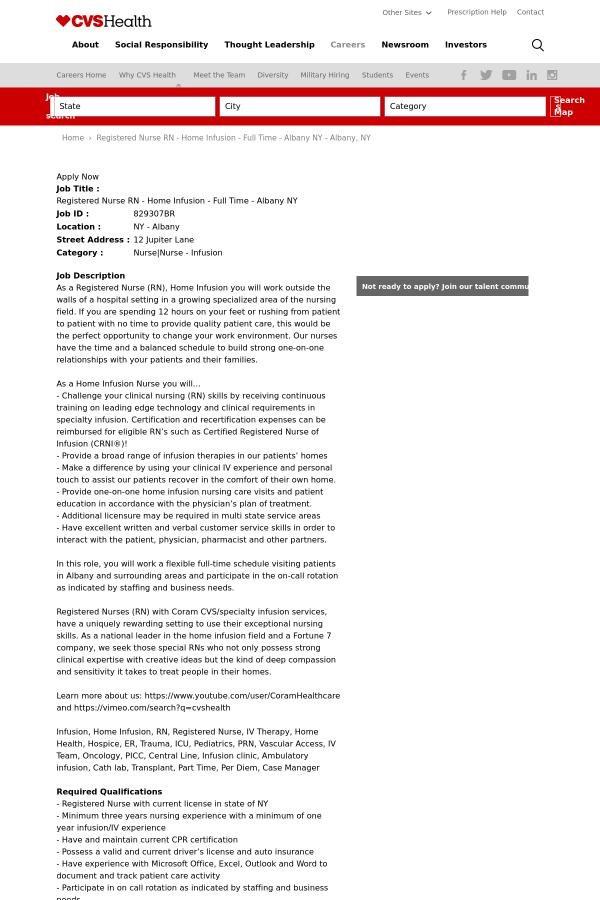 Registered Nurse Registered Nurse Home Infusion Albany Ny Job At