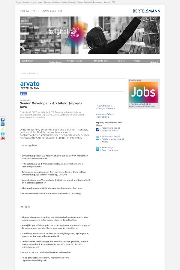 Senior Developer / Architekt (m/w / D) Java job at Bertelsmann in ...
