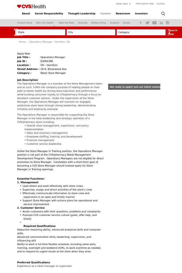 operations manager job at cvs health in hamilton oh 13325145