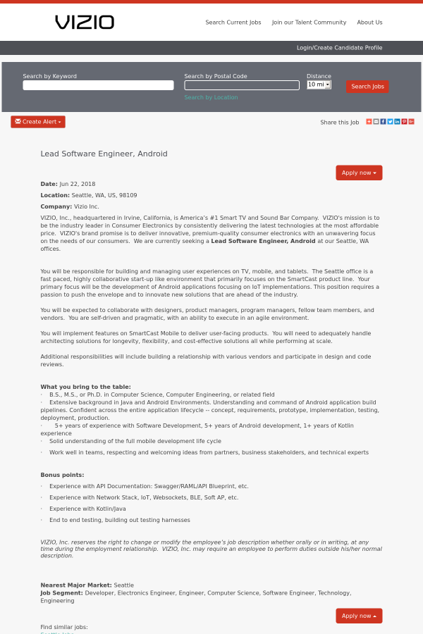 Lead software engineer android job at vizio in seattle wa vizio malvernweather Images