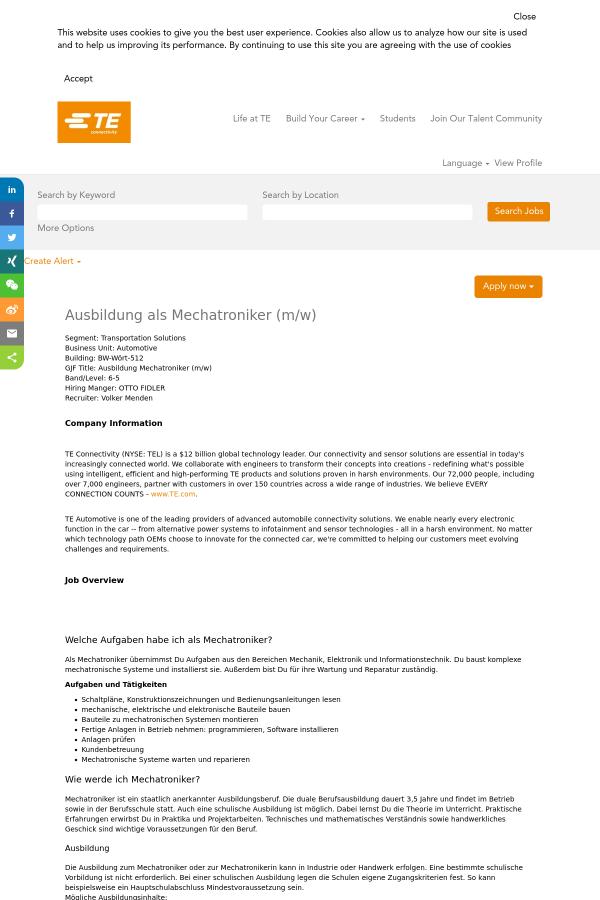 Ausbildung Als Mechatroniker (m/w) job at TE Connectivity in Wört ...