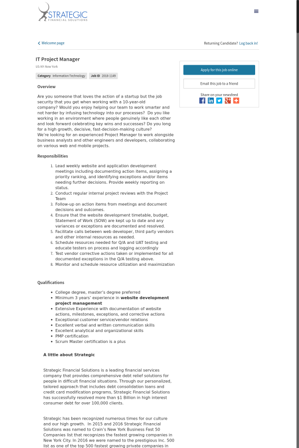 It Project Manager Job At Strategic Financial Solutions In New York