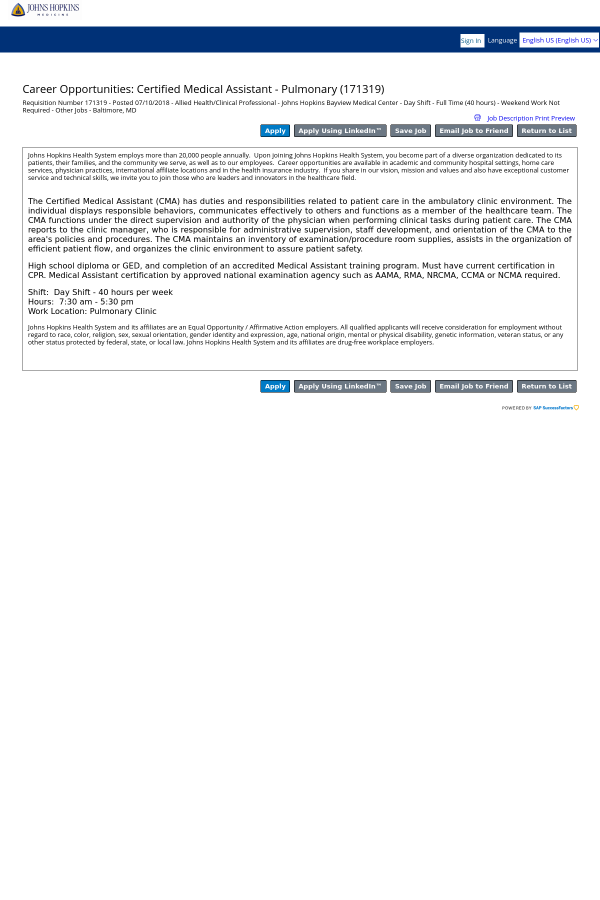Certified Medical Assistant Pulmonary Job At Johns Hopkins Bayview