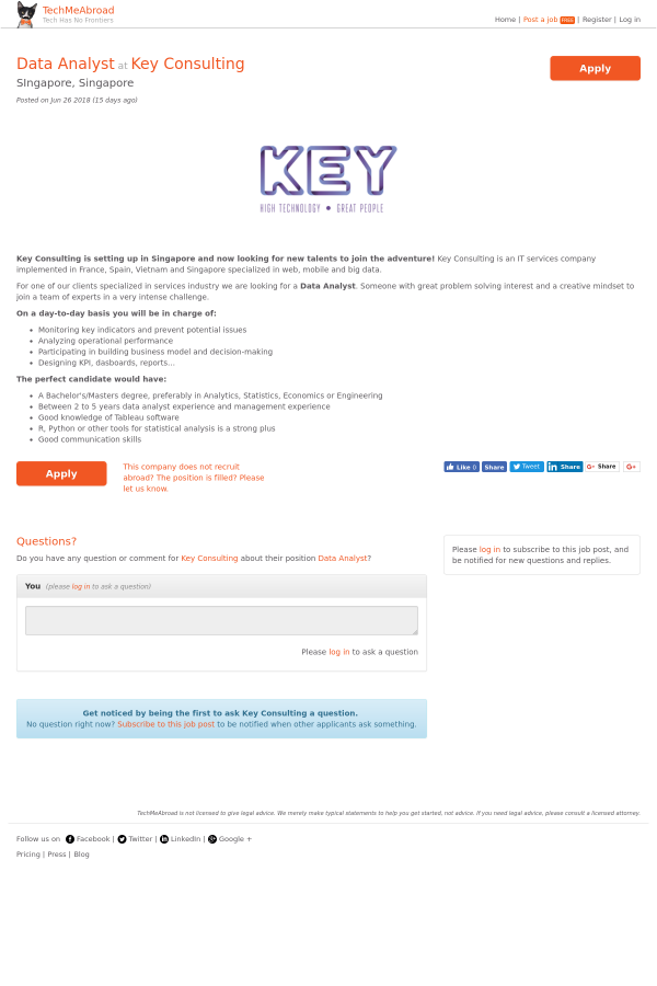 Data Analyst job at Key Consulting in Singapore - 13364539