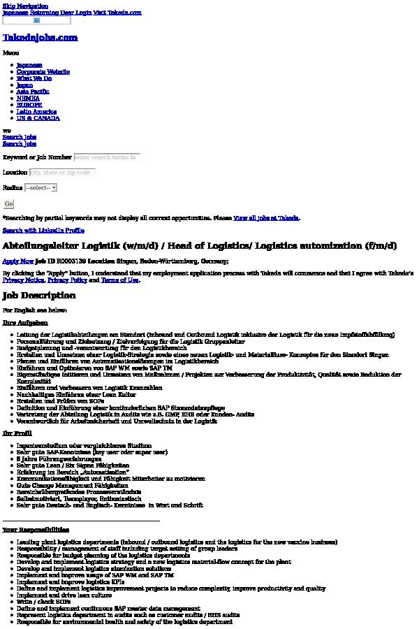 Abteilungsleiter Logistik (w/m / D) / Head of Logistics / Logistics ...