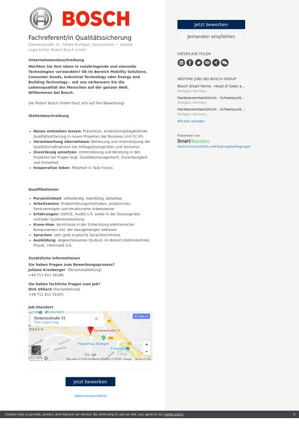 Fachreferent / in Qualitätssicherung job at Bosch Group in Stuttgart ...