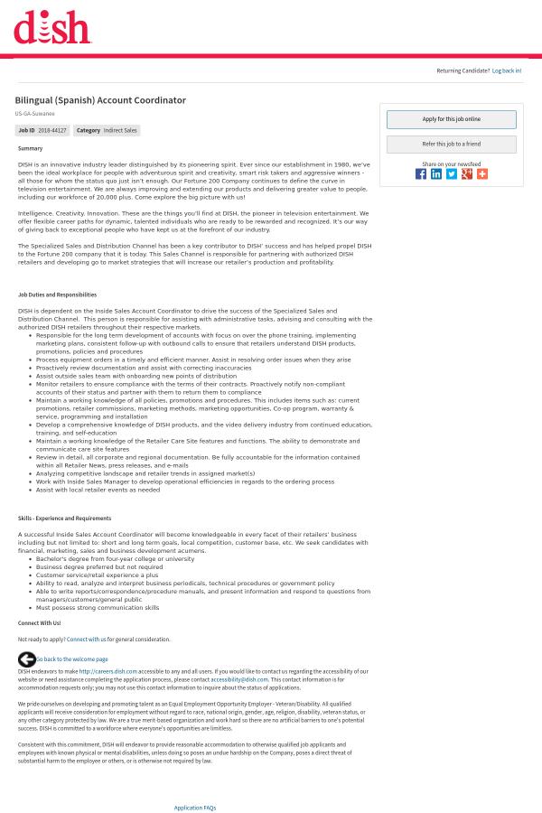 bilingual spanish account coordinator job at dish network in