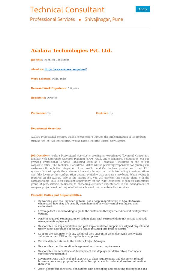 avalara technologies pvt ltd job title technical consultant