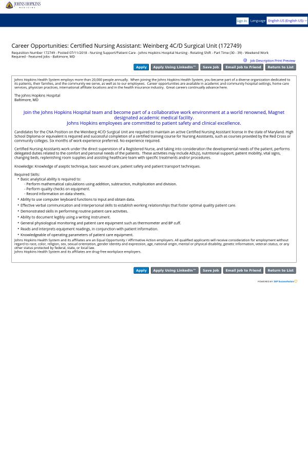 Certified Nursing Assistant Weinberg 4c D Surgical Unit Job At