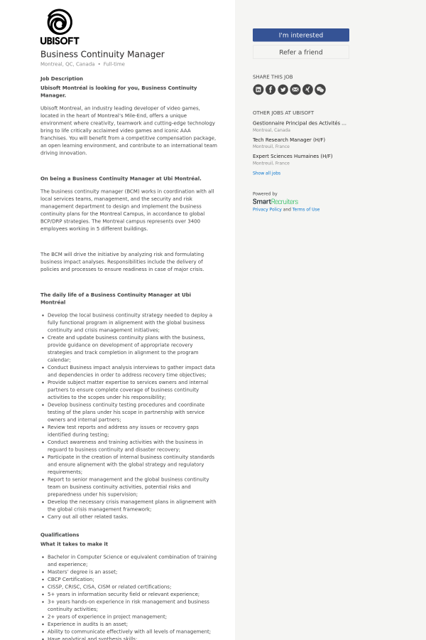 Business Continuity Manager job at Ubisoft in Montréal, Canada ...