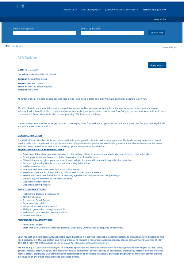 Abo Optician Job At Oakley In Lakeville Mn 13386140 Tapwage Job