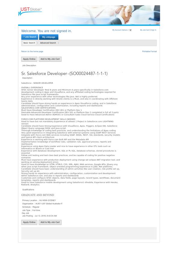Senior Salesforce Developer job at UST Global in Sydney, Australia ...
