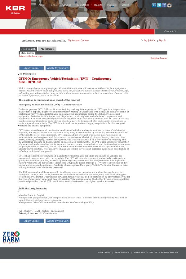 Gitmo Emergency Vehicletechnician Evt Contingency Hire Job At
