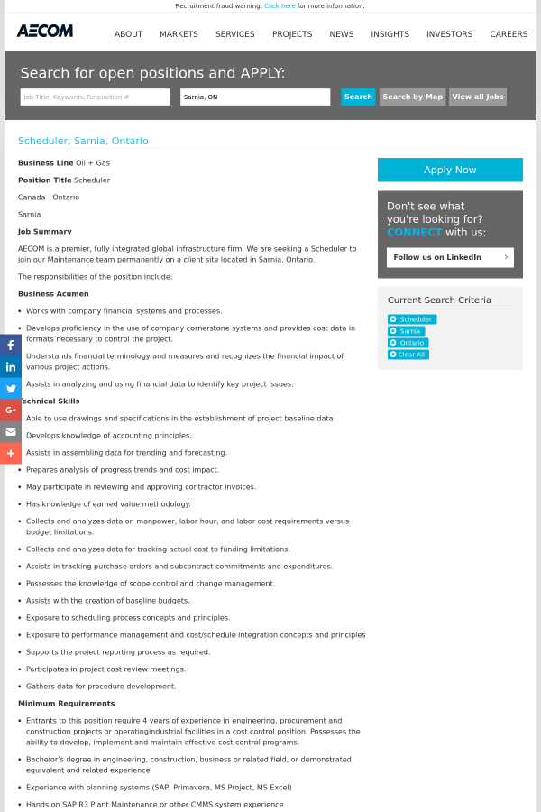 Scheduler job at AECOM Technology Corporation in Sarnia, Canada ...