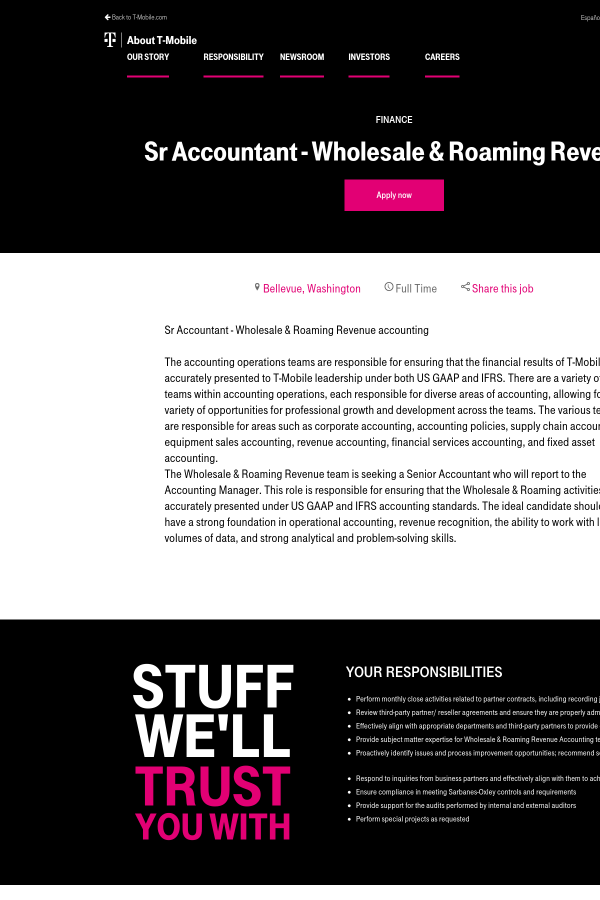 Senior Accountant Wholesale Roaming Revenue Job At T Mobile In