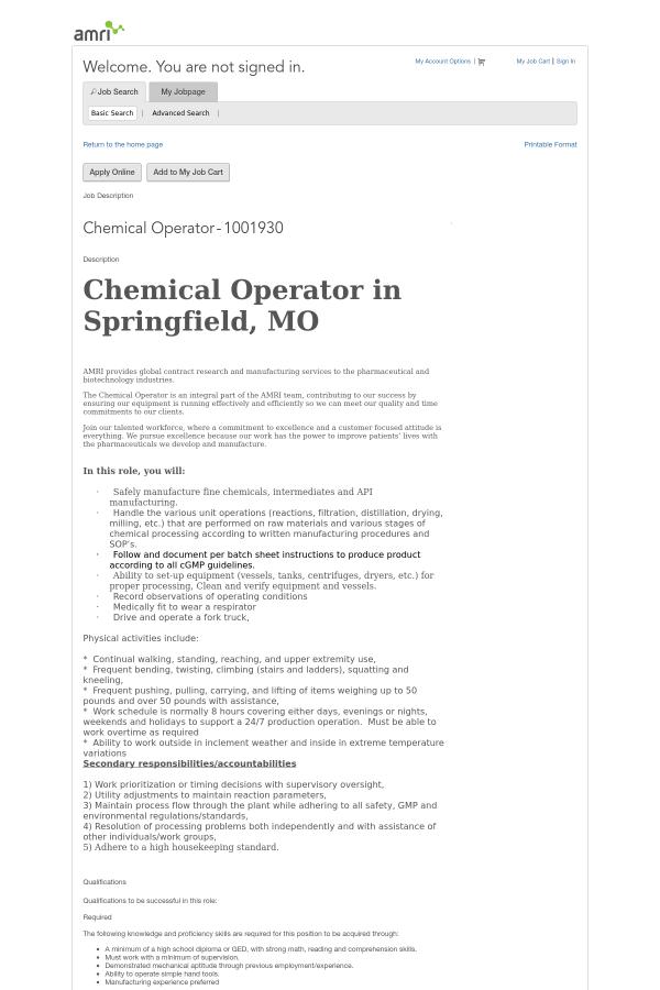 Chemical Plant Process Operator Job Description The Best Plant 2018