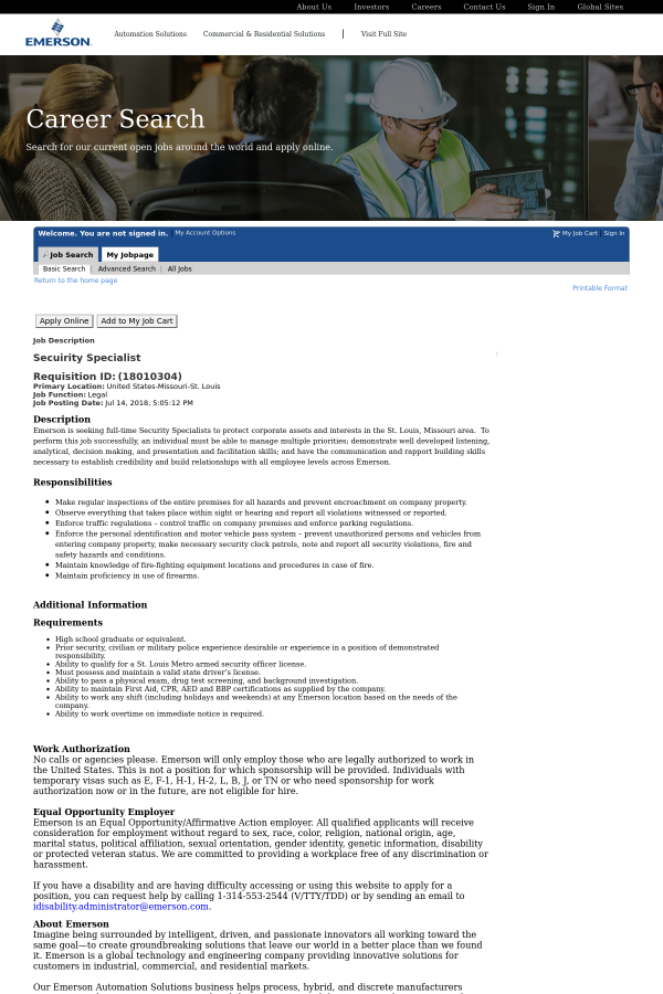 Secuirity Specialist Job At Emerson Electric In St Louis Mo