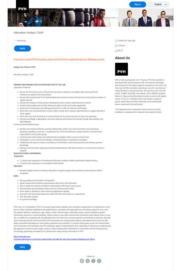 Allocation Analyst, Csap job at PVH Corp in Hong Kong