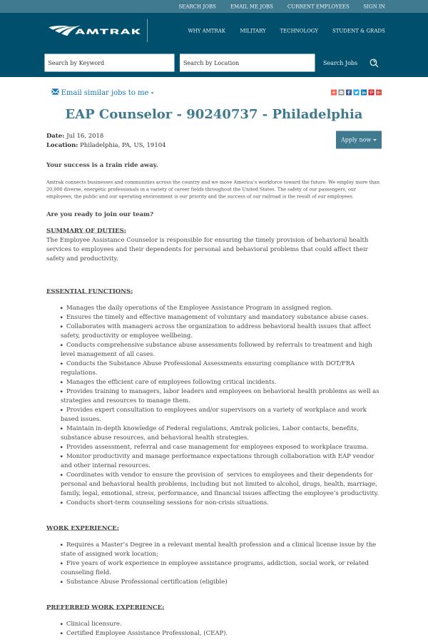 Eap Counselor Job At Amtrak In Philadelphia Pa 13450287 Tapwage