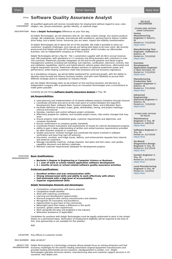 Software Quality Assurance Analyst job at Delphi Technologies in ...