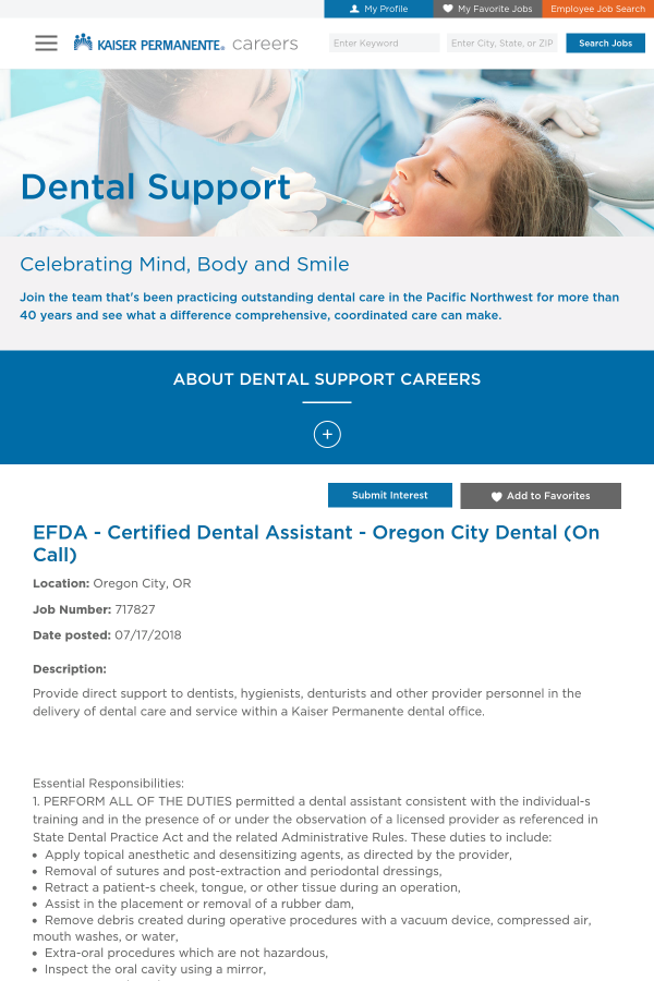 Efda Certified Dental Assistant Oregon City Dental On Call Job