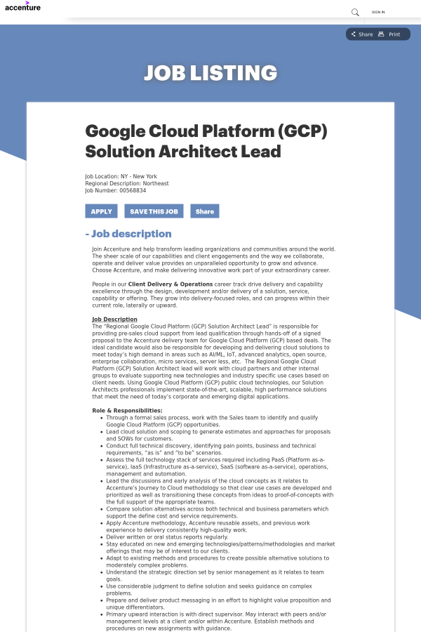 Google Cloud Platform Gcp Solution Architect Lead Job At Accenture