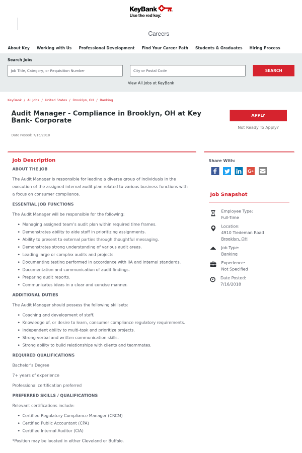 Audit Manager - Compliance job at Keybank in Brooklyn, OH - 13463522 ...