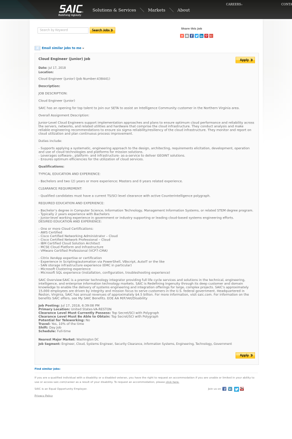 Cloud Engineer (Junior) job at SAIC in Reston, VA - 13471301