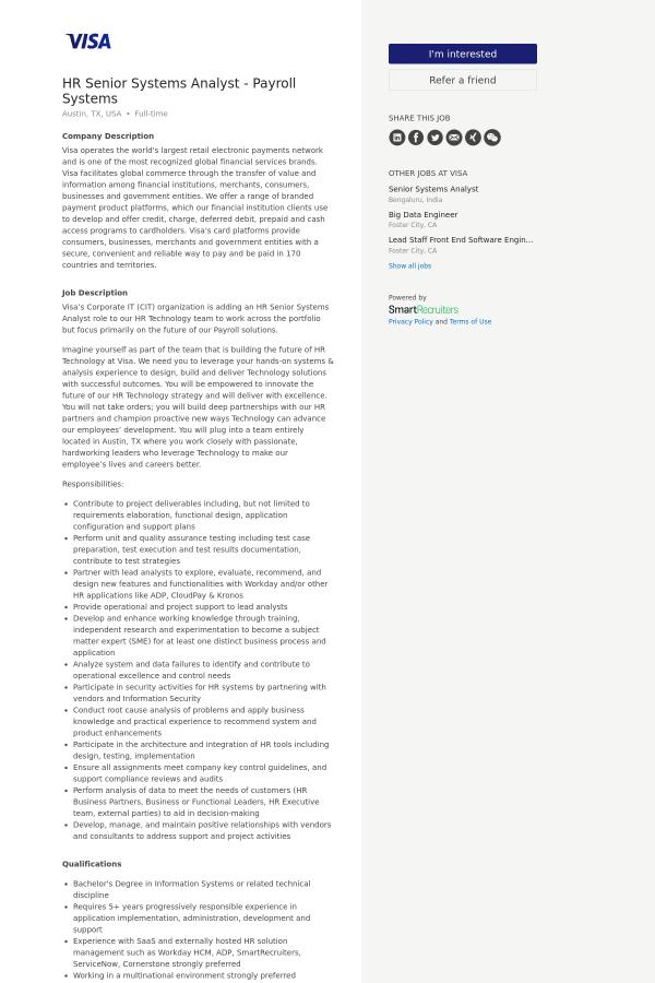 HR Senior Systems Analyst - Payroll Systems job at Visa in Austin ...