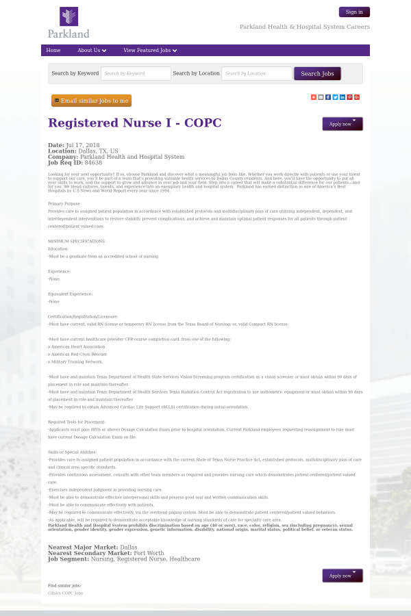 Registered Nurse I Copc Job At Parkland Health Hospital System