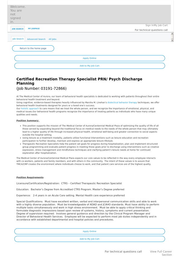 Certified Recreation Therapy Specialist PRN / Psych Discharge ...